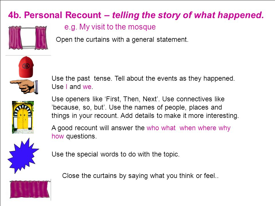 4b. Personal Recount – telling the story of what happened.