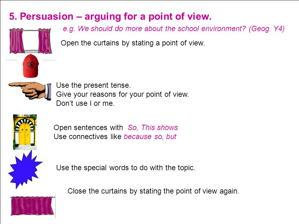 5. Persuasion – arguing for a point of view.