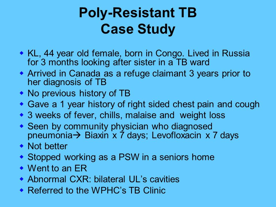 tb case study Case studies on hiv/aids for health care providers,  hiv web study this site provides interactive, case-based modules related to the clinical care of hiv-infected.
