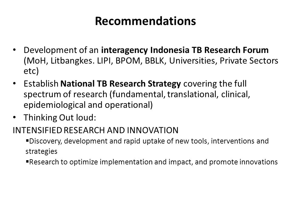 TB Research Challenge In Indonesia