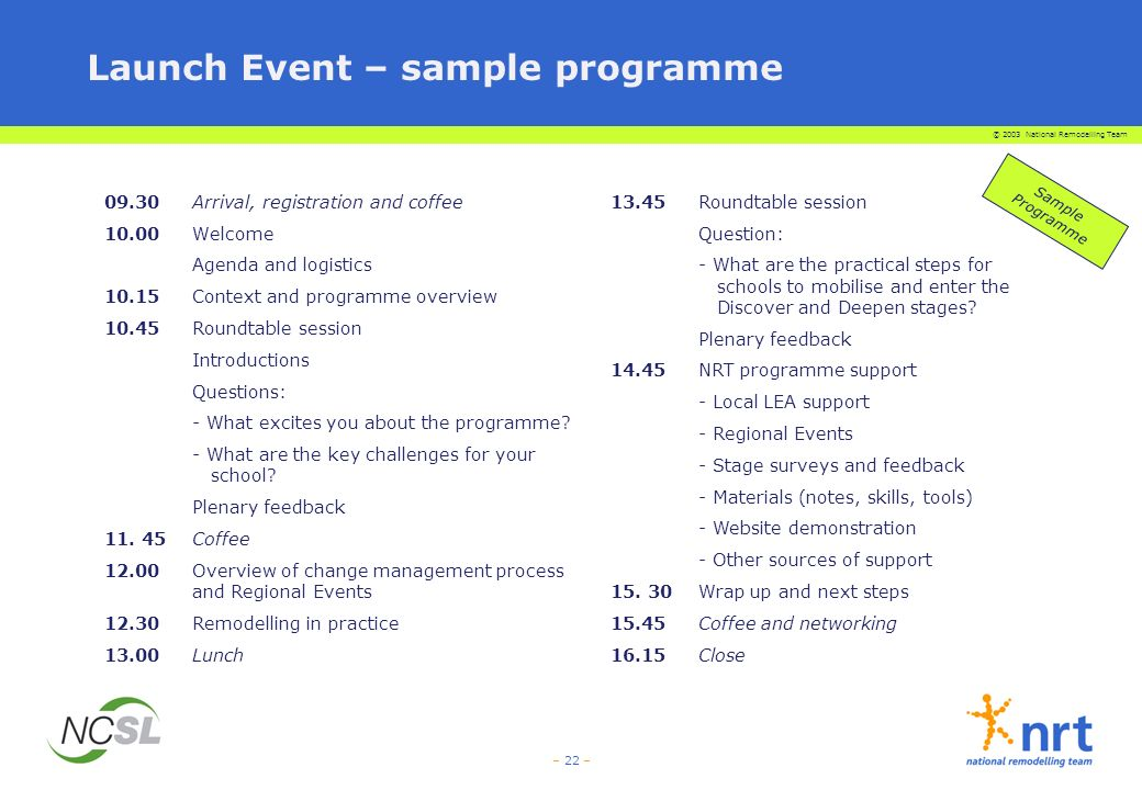 Launch Event – sample programme