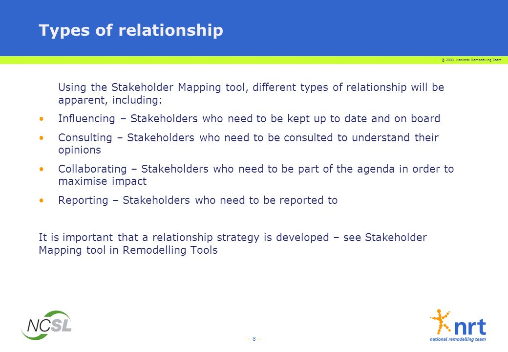 Types of relationship Using the Stakeholder Mapping tool, different types of relationship will be apparent, including: