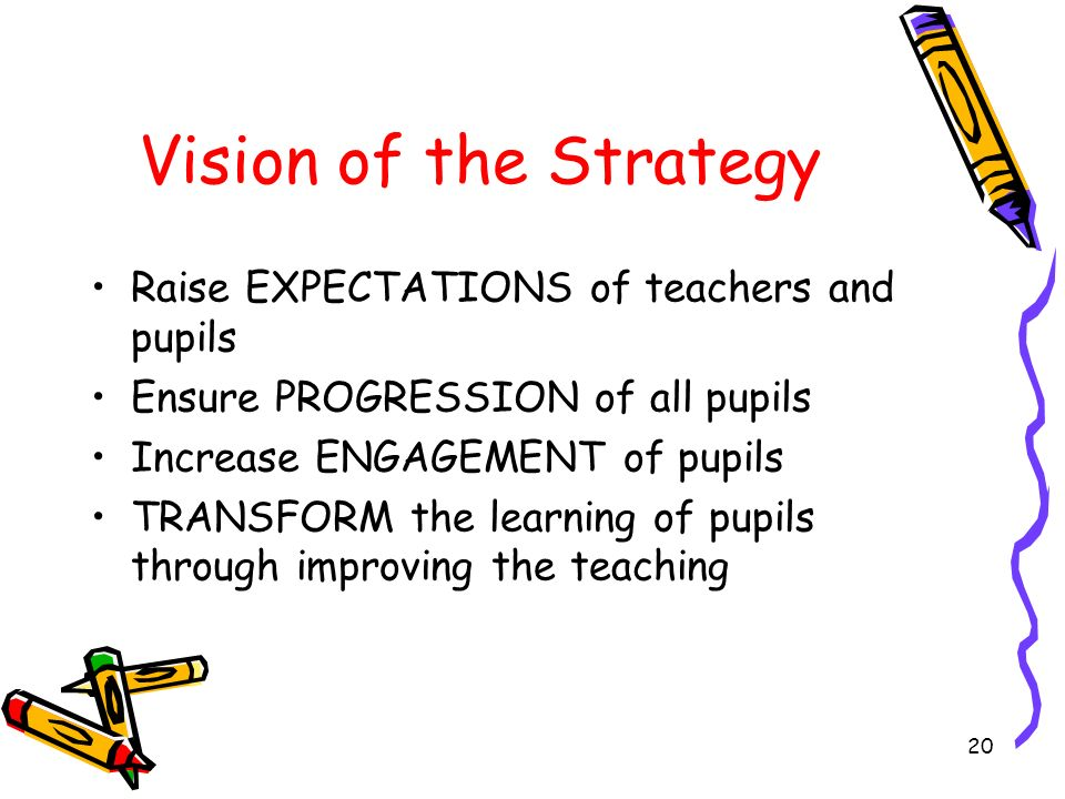 Vision of the Strategy Raise EXPECTATIONS of teachers and pupils