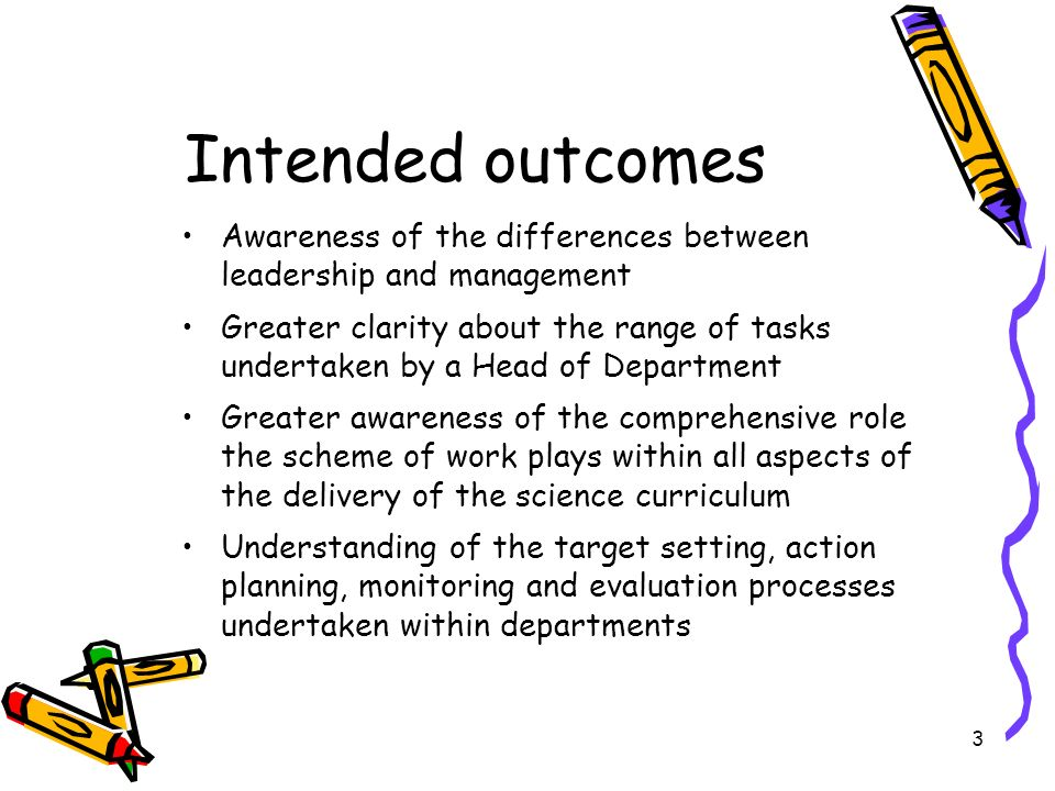 Intended outcomes Awareness of the differences between leadership and management.