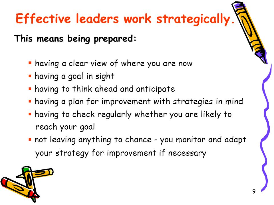 Effective leaders work strategically.
