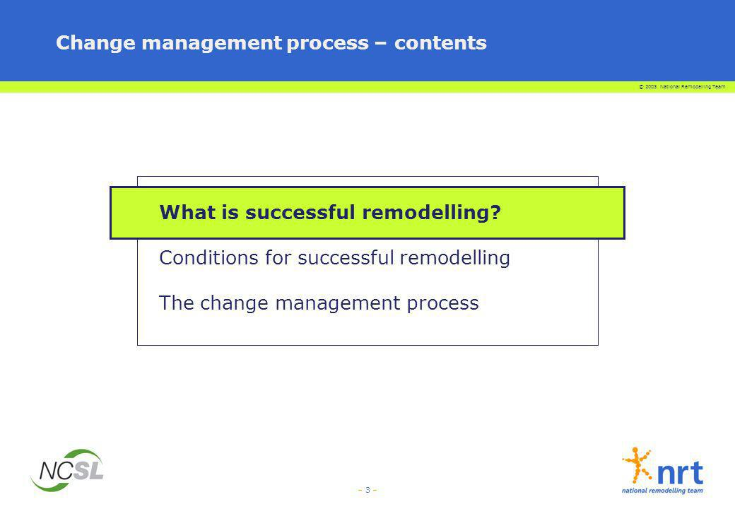 Change management process – contents