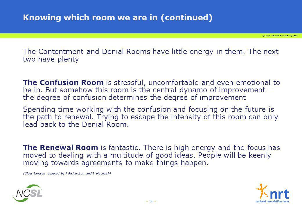 Knowing which room we are in (continued)