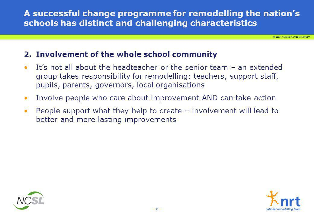 A successful change programme for remodelling the nation's schools has distinct and challenging characteristics