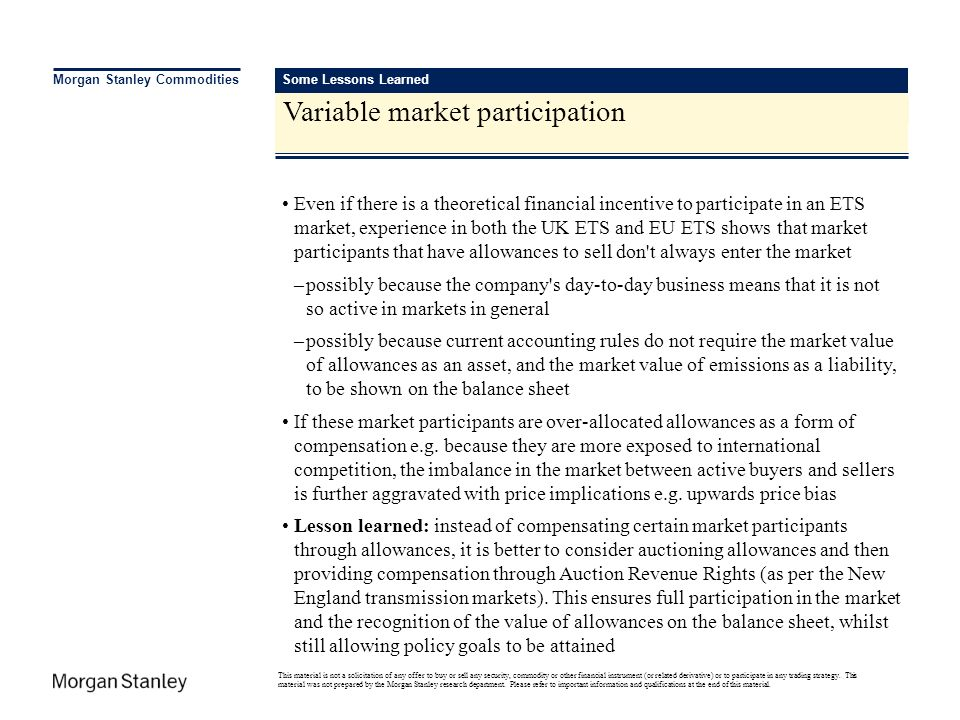 Variable market participation