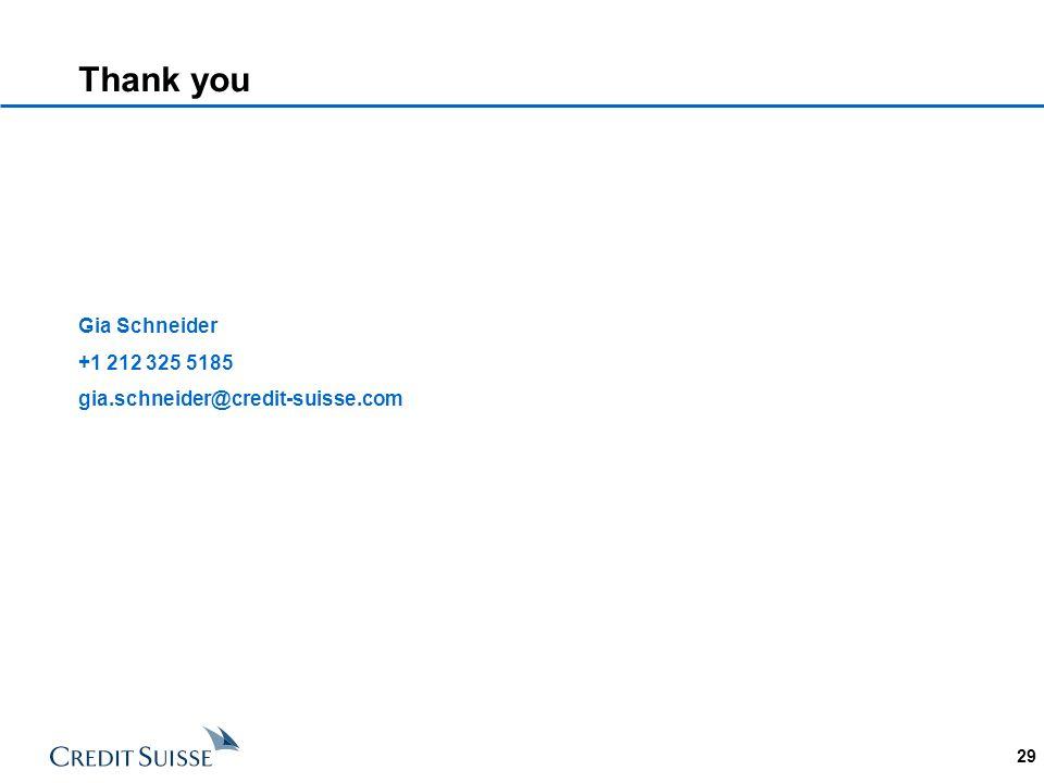 Thank you Gia Schneider +1 212 325 5185 gia.schneider@credit-suisse.com 29