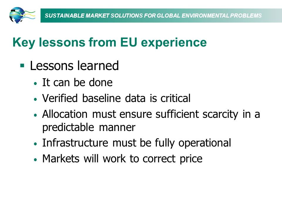 Key lessons from EU experience
