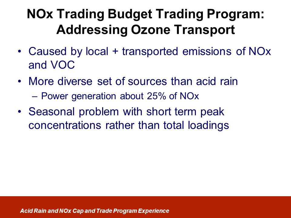 NOx Trading Budget Trading Program: Addressing Ozone Transport