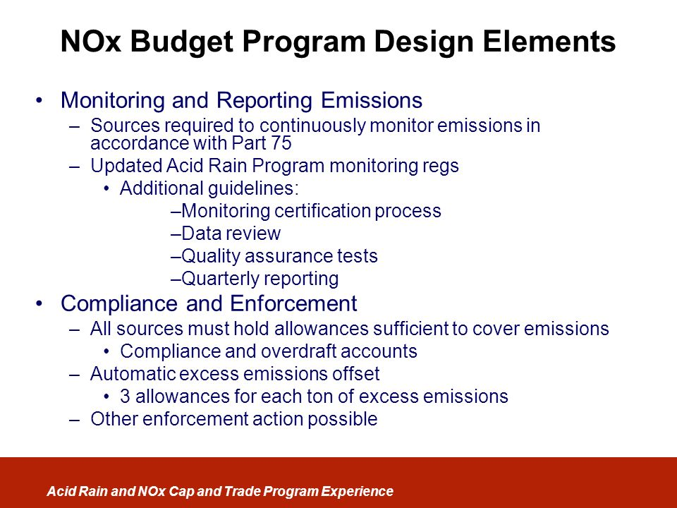 NOx Budget Program Design Elements