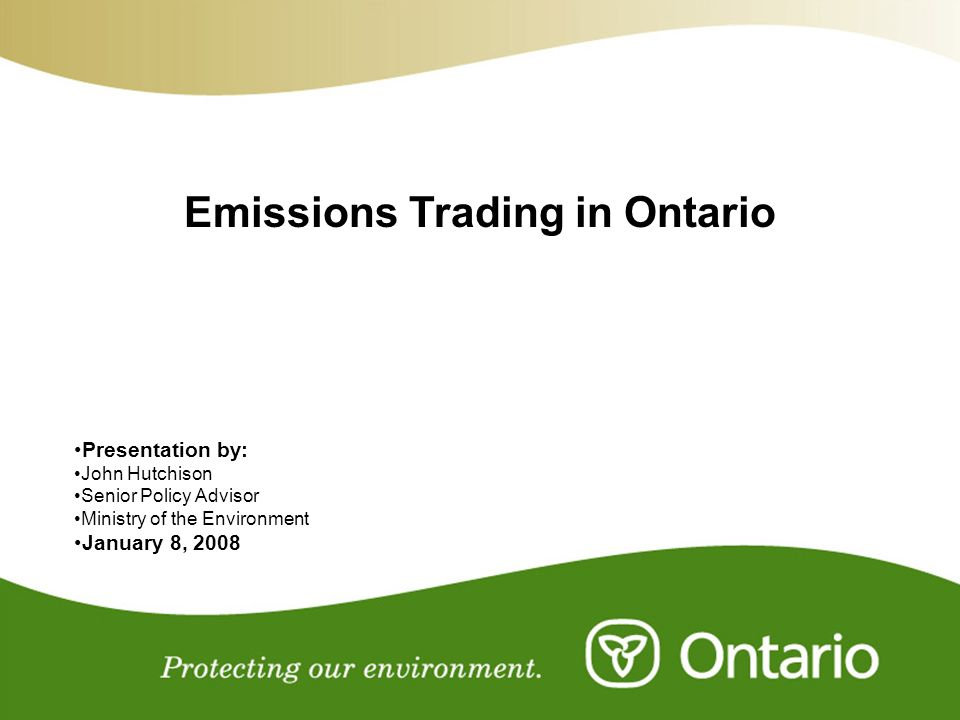 Emissions Trading in Ontario