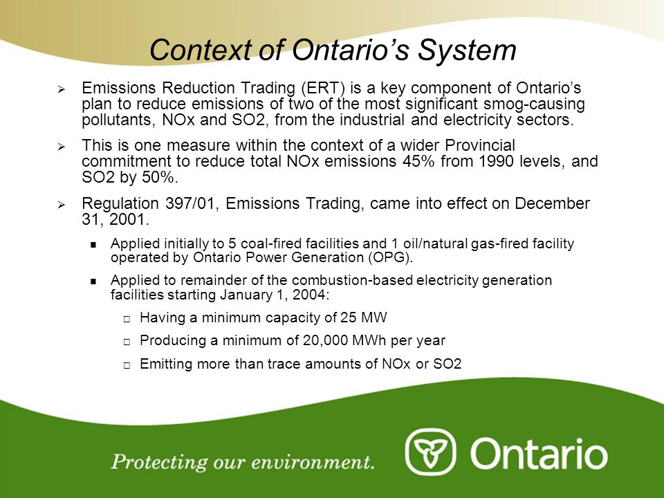 Context of Ontario's System