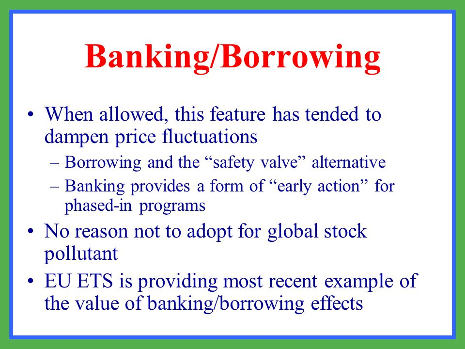 Banking/Borrowing When allowed, this feature has tended to dampen price fluctuations. Borrowing and the safety valve alternative.