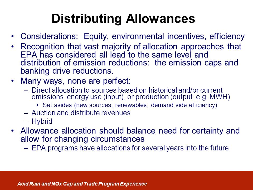 Distributing Allowances