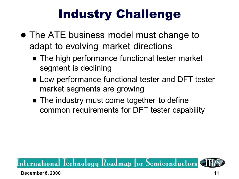 Industry Challenge The ATE business model must change to adapt to evolving market directions.
