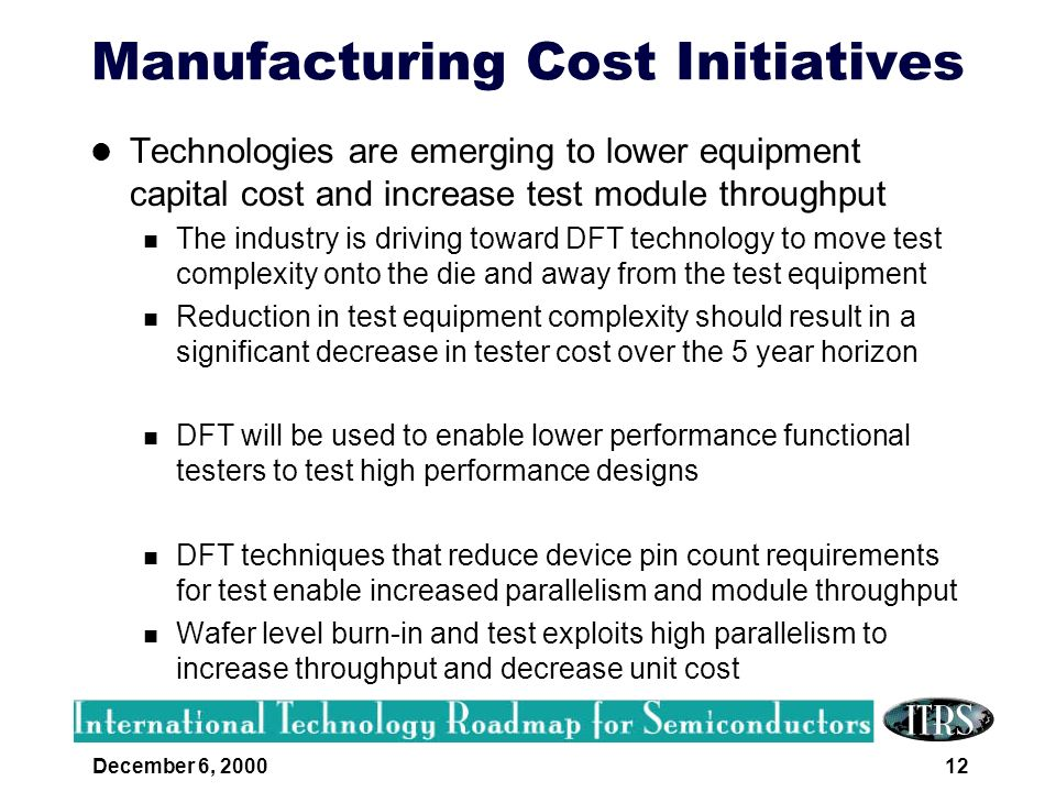 Manufacturing Cost Initiatives