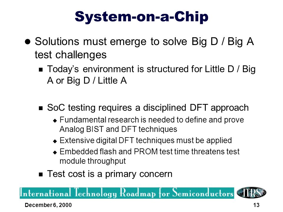 System-on-a-Chip Solutions must emerge to solve Big D / Big A test challenges.