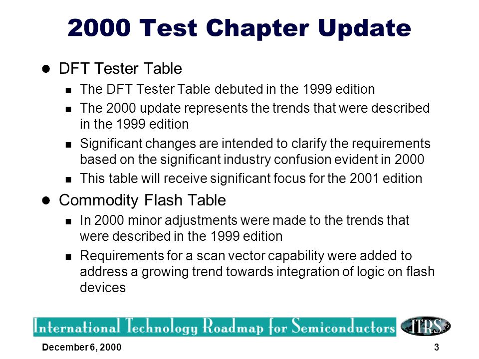 2000 Test Chapter Update DFT Tester Table Commodity Flash Table