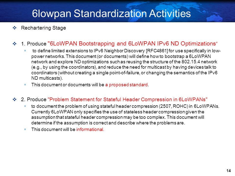 6lowpan Standardization Activities