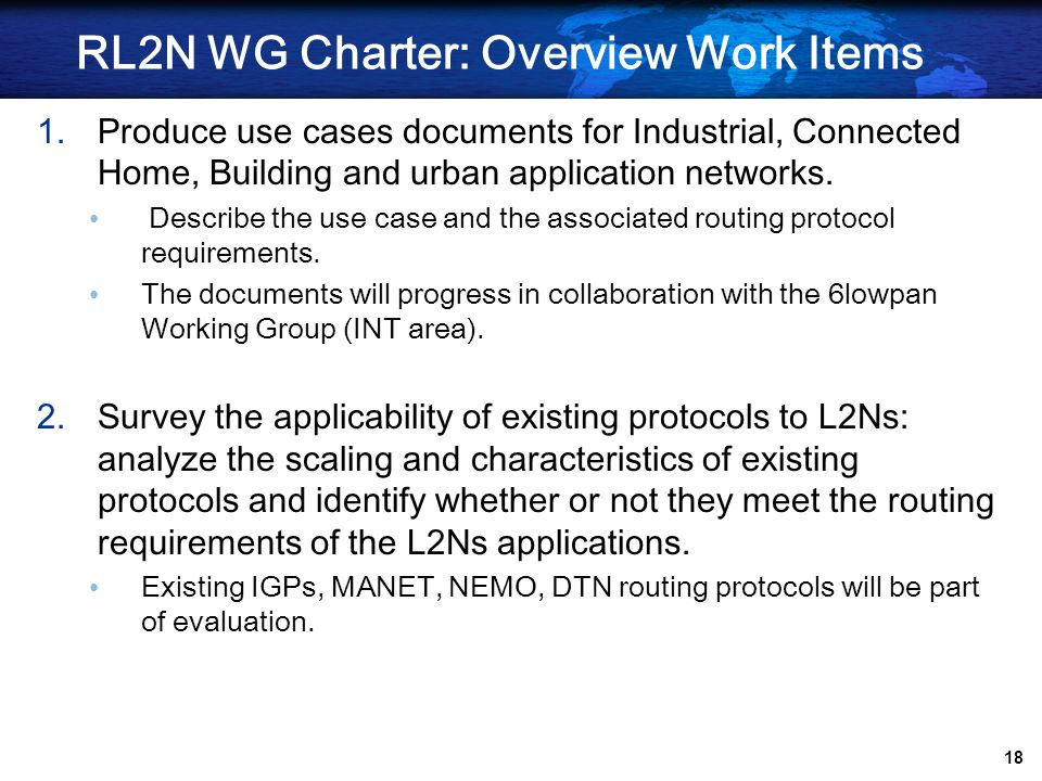 RL2N WG Charter: Overview Work Items