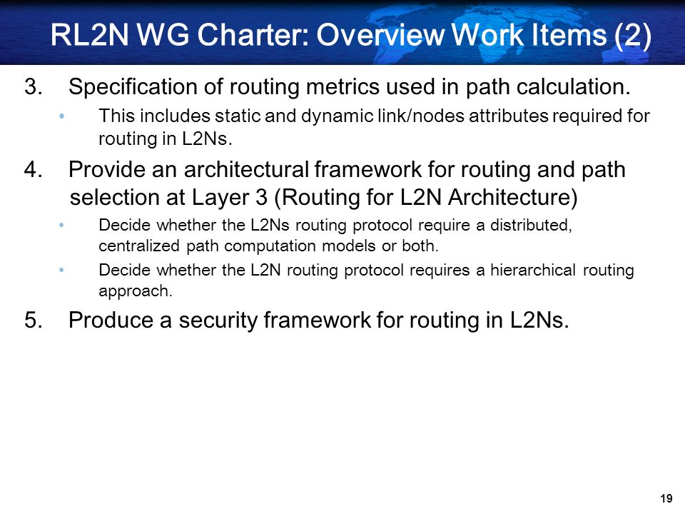 RL2N WG Charter: Overview Work Items (2)