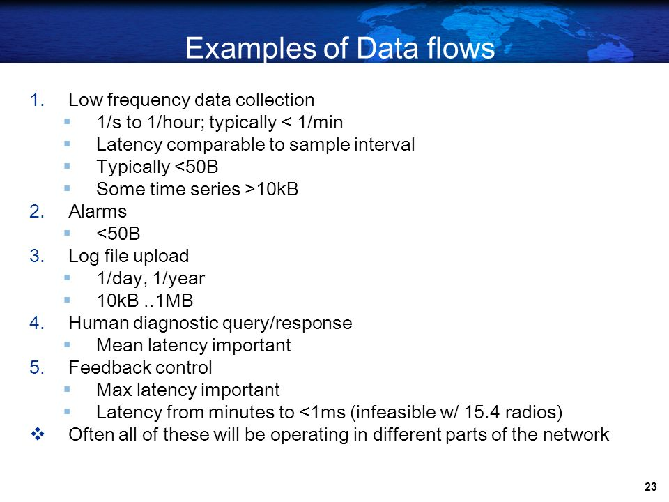 Examples of Data flows Low frequency data collection
