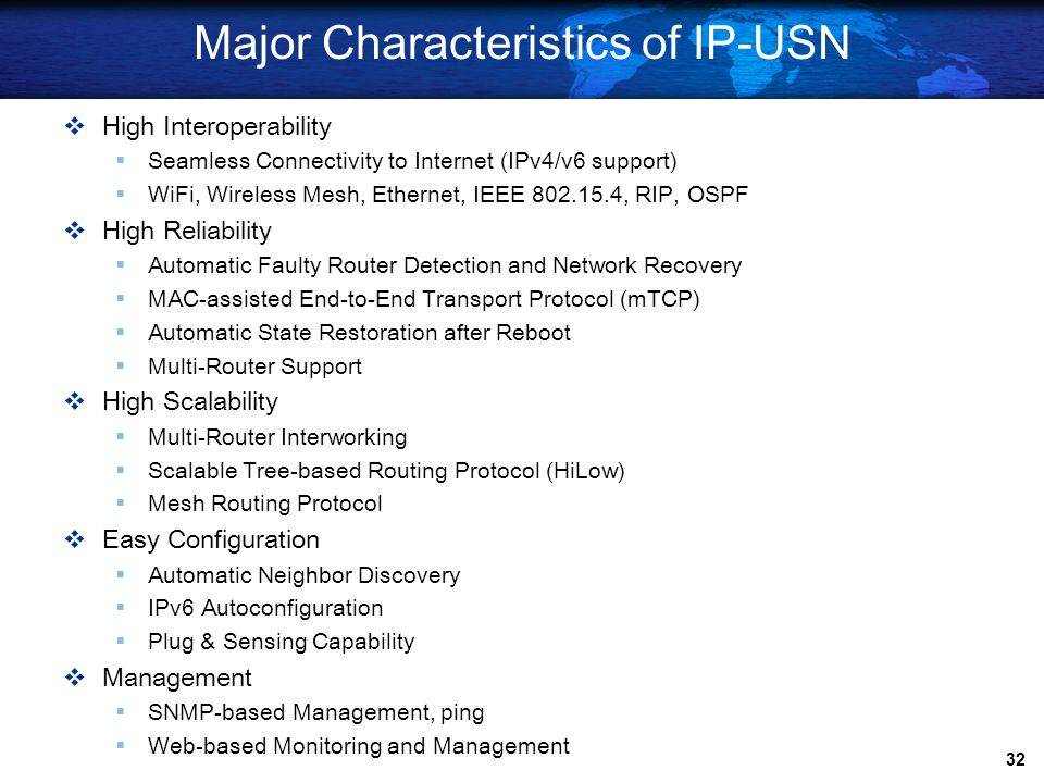 Major Characteristics of IP-USN