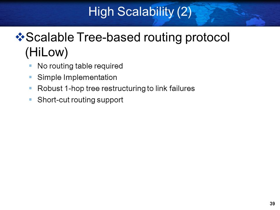 Scalable Tree-based routing protocol (HiLow)