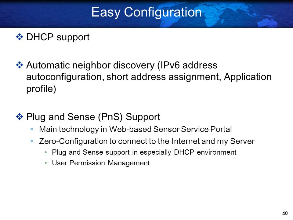 Easy Configuration DHCP support