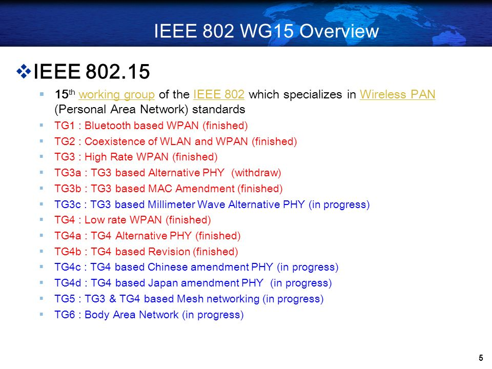 IEEE 802 WG15 OverviewIEEE 802.15. 15th working group of the IEEE 802 which specializes in Wireless PAN (Personal Area Network) standards.
