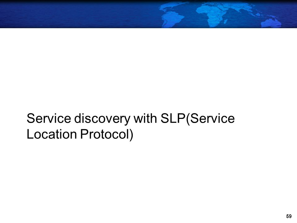 Service discovery with SLP(Service Location Protocol)