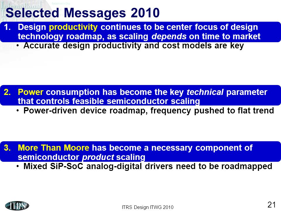 Selected Messages 2010 Design productivity continues to be center focus of design technology roadmap, as scaling depends on time to market.