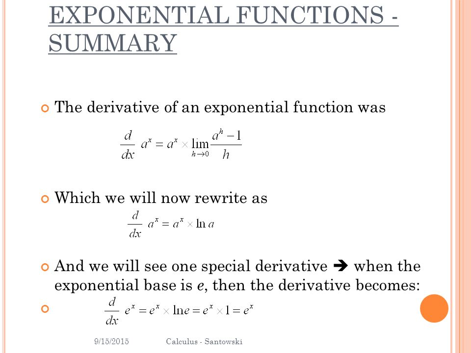 B.1.6 – DERIVATIVES OF EXPONENTIAL FUNCTIONS - ppt download