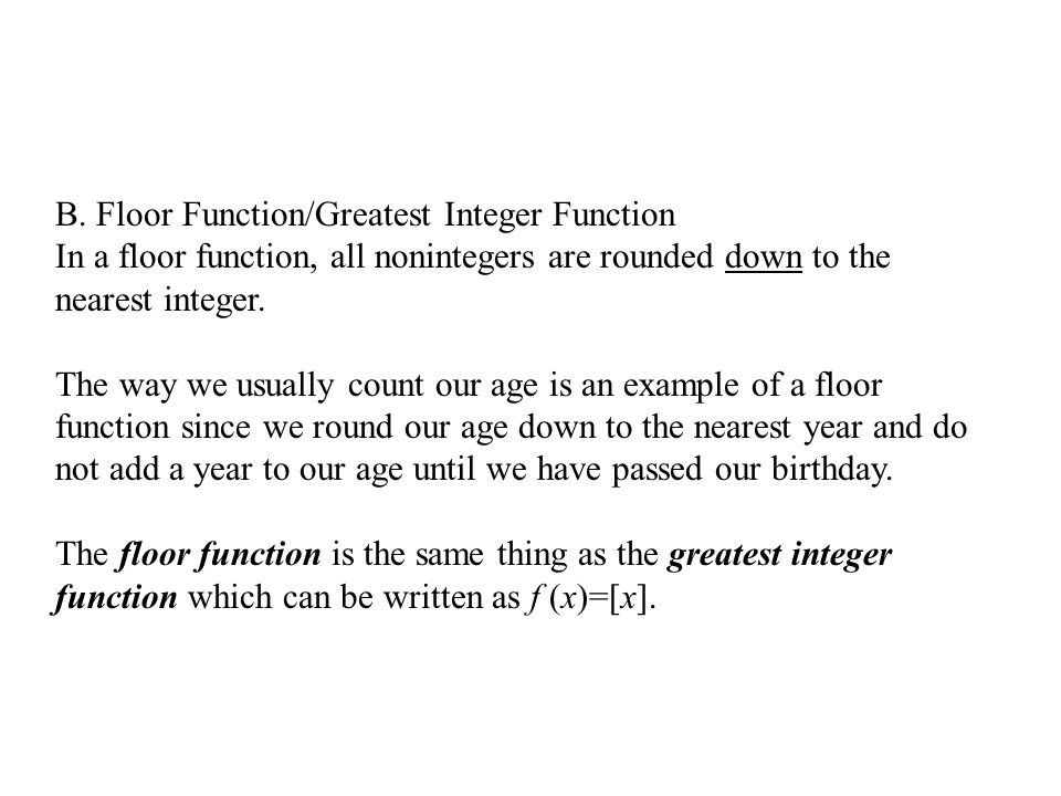 Piecewise functions and step functions ppt video online for Integer floor function