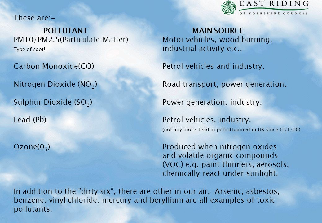 PM10/PM2.5(Particulate Matter) Motor vehicles, wood burning,
