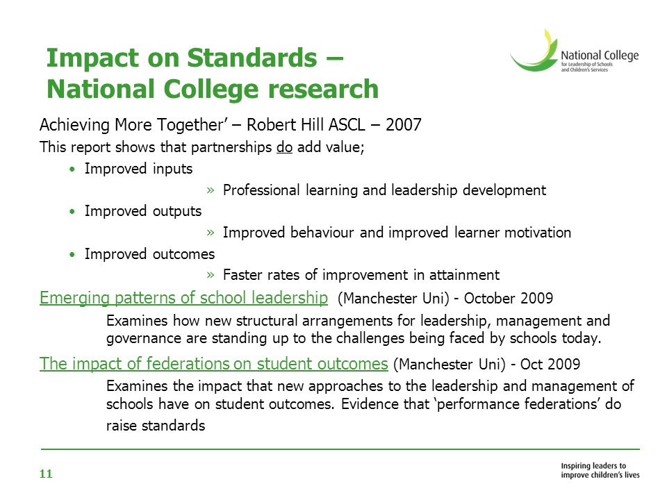Impact on Standards – National College research