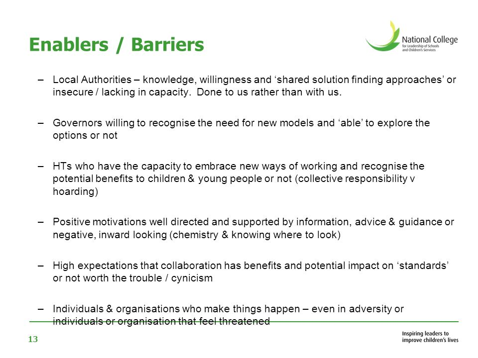 Enablers / Barriers