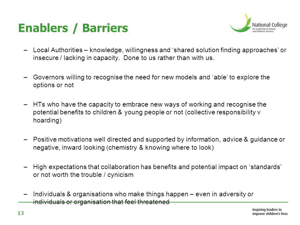 Enablers / Barriers