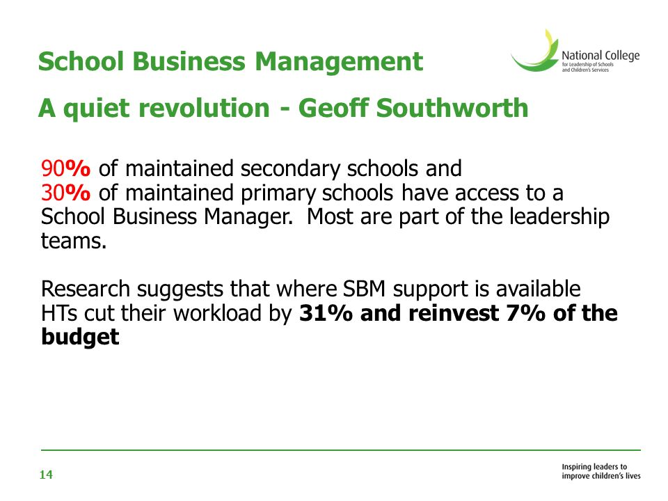 School Business Management A quiet revolution - Geoff Southworth
