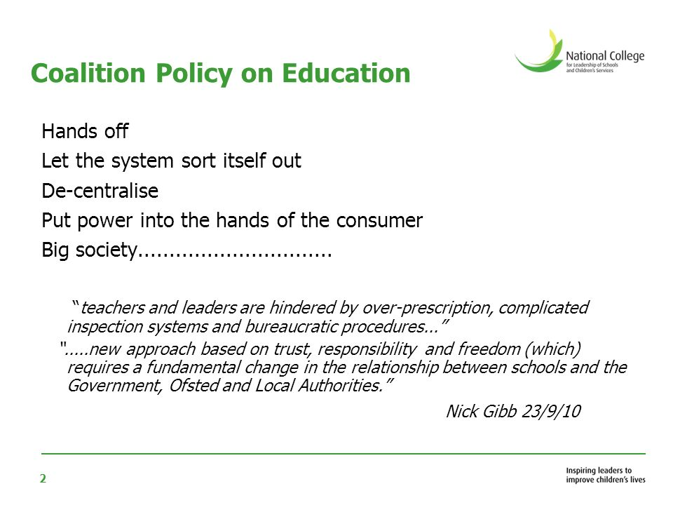 Coalition Policy on Education