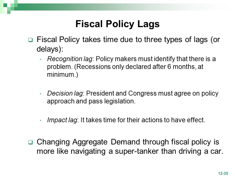 fiscal policy lags Definition of operational lag: period between the point at which a policy or  procedure is implemented, and the point when it starts to take effect also called.