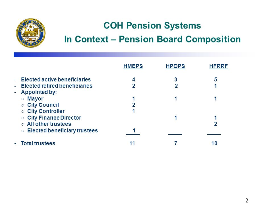 COH Pension Systems In Context – Pension Board Composition