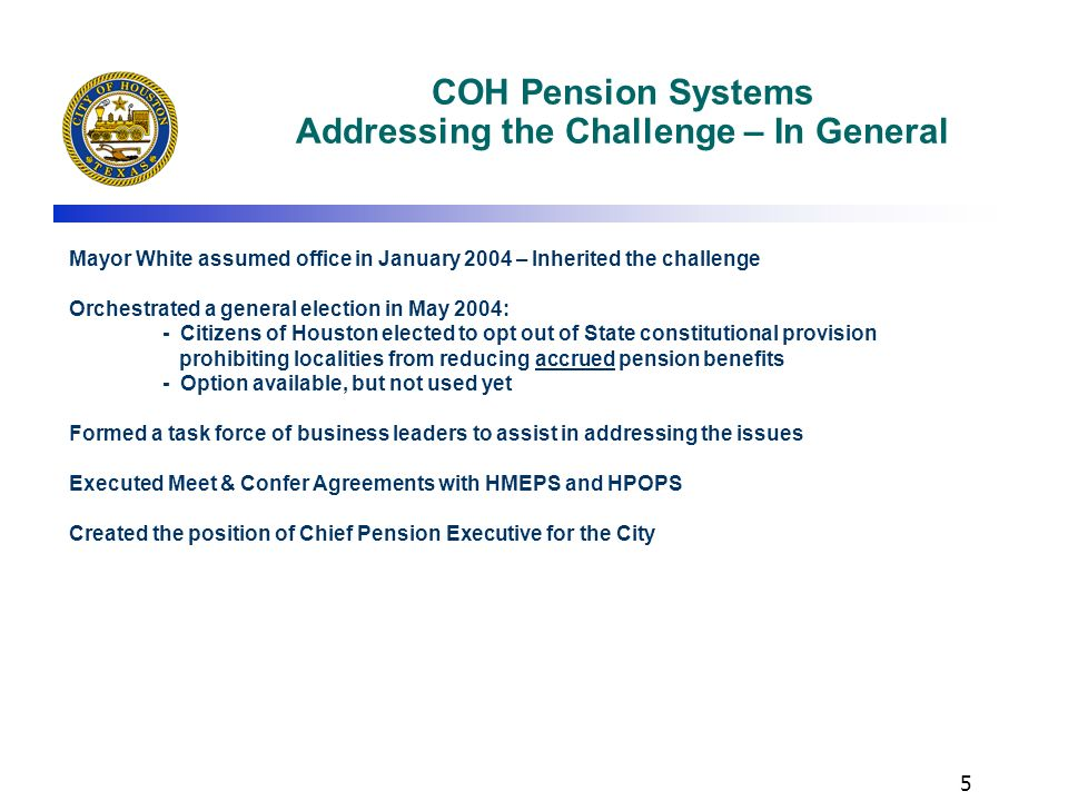 COH Pension Systems Addressing the Challenge – In General