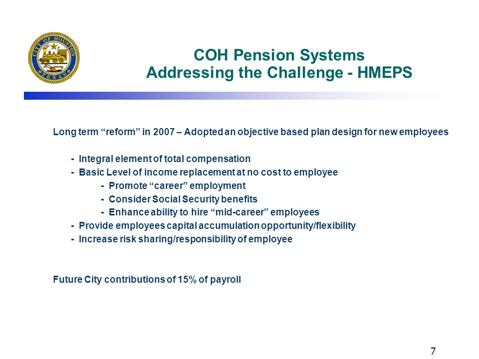 COH Pension Systems Addressing the Challenge - HMEPS