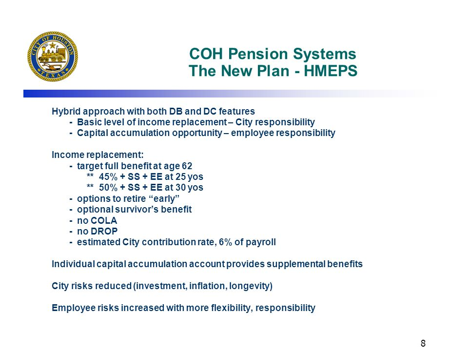 COH Pension Systems The New Plan - HMEPS