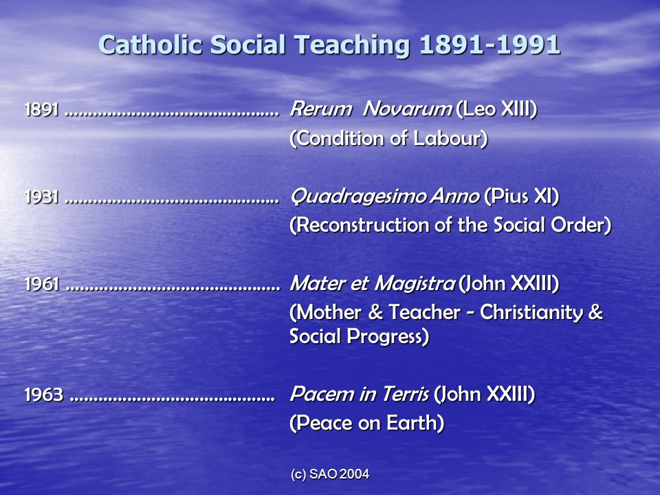 Catholic Social Teaching 1891-1991