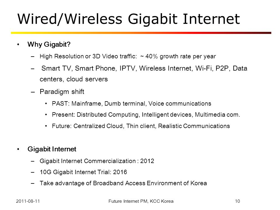 Wired/Wireless Gigabit Internet